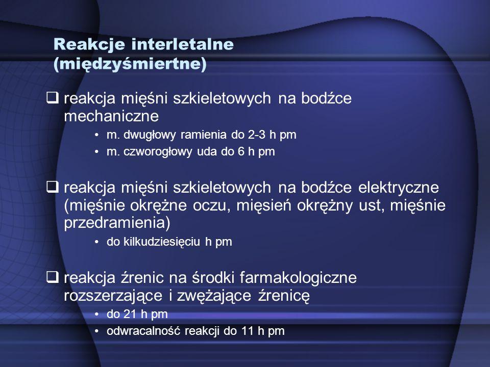 Reakcje interletalne (międzyśmiertne)  reakcja mięśni szkieletowych na bodźce mechaniczne m. dwugłowy ramienia do 2-3 h pm m. czworogłowy uda do 6 h
