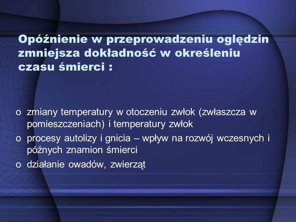 Opóźnienie w przeprowadzeniu oględzin zmniejsza dokładność w określeniu czasu śmierci : ozmiany temperatury w otoczeniu zwłok (zwłaszcza w pomieszczen