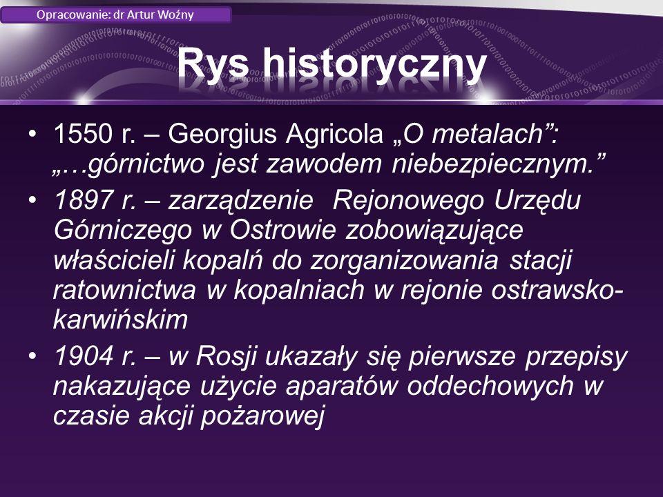 """1550 r. – Georgius Agricola """"O metalach : """"…górnictwo jest zawodem niebezpiecznym. 1897 r."""