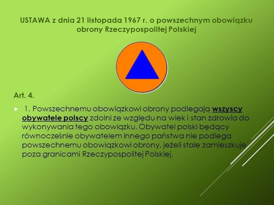USTAWA z dnia 21 listopada 1967 r. o powszechnym obowiązku obrony Rzeczypospolitej Polskiej Art.