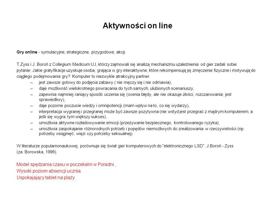 Aktywności on line Gry online - symulacyjne, strategiczne, przygodowe, akcji. T.Zyss i J. Boroń z Collegium Medicum UJ, którzy zajmowali się analizą m