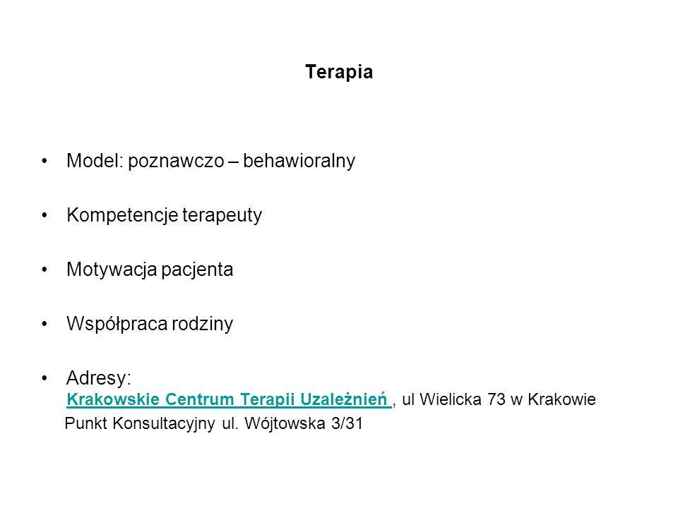 Terapia Model: poznawczo – behawioralny Kompetencje terapeuty Motywacja pacjenta Współpraca rodziny Adresy: Krakowskie Centrum Terapii Uzależnień, ul