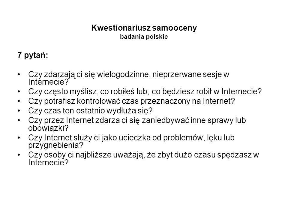 Kwestionariusz samooceny badania polskie 7 pytań: Czy zdarzają ci się wielogodzinne, nieprzerwane sesje w Internecie? Czy często myślisz, co robiłeś l
