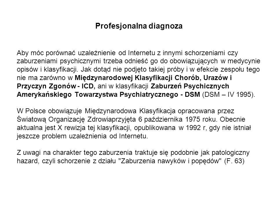 Profesjonalna diagnoza Aby móc porównać uzależnienie od Internetu z innymi schorzeniami czy zaburzeniami psychicznymi trzeba odnieść go do obowiązując