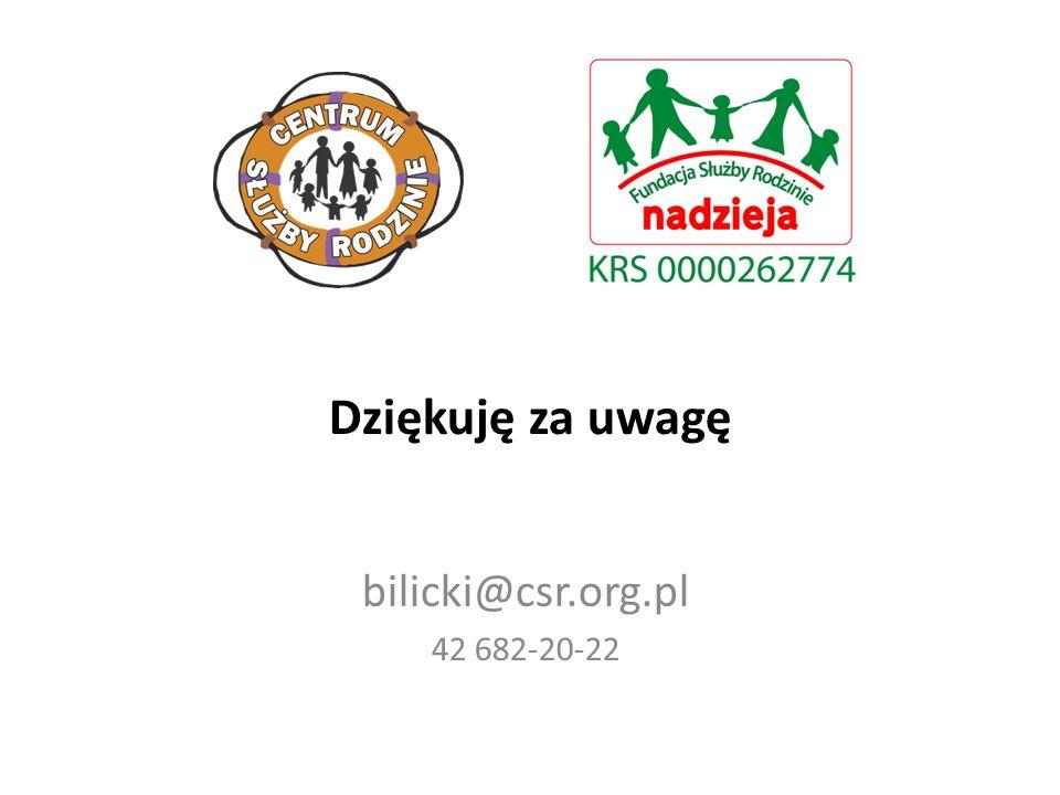 Dziękuję za uwagę bilicki@csr.org.pl 42 682-20-22