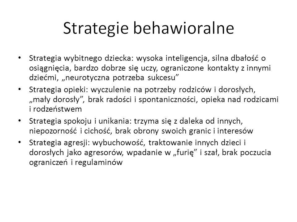 """Strategia wybitnego dziecka: wysoka inteligencja, silna dbałość o osiągnięcia, bardzo dobrze się uczy, ograniczone kontakty z innymi dziećmi, """"neurotyczna potrzeba sukcesu Strategia opieki: wyczulenie na potrzeby rodziców i dorosłych, """"mały dorosły , brak radości i spontaniczności, opieka nad rodzicami i rodzeństwem Strategia spokoju i unikania: trzyma się z daleka od innych, niepozorność i cichość, brak obrony swoich granic i interesów Strategia agresji: wybuchowość, traktowanie innych dzieci i dorosłych jako agresorów, wpadanie w """"furię i szał, brak poczucia ograniczeń i regulaminów"""