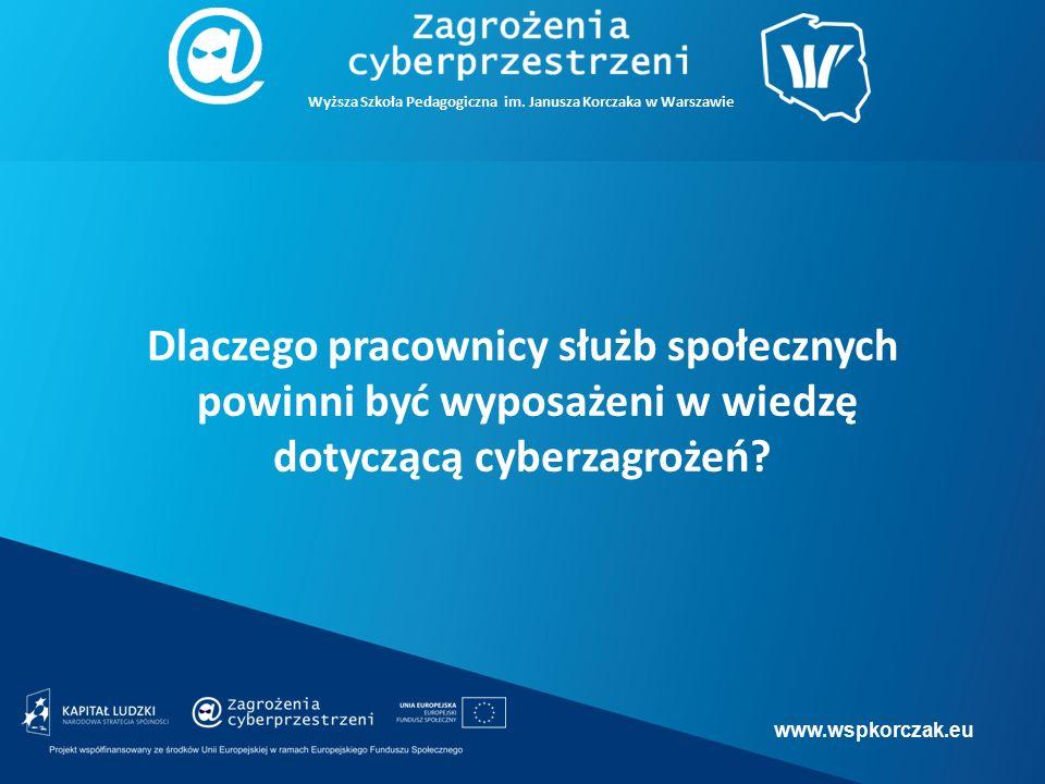 www.wspkorczak.eu Dlaczego pracownicy służb społecznych powinni być wyposażeni w wiedzę dotyczącą cyberzagrożeń.