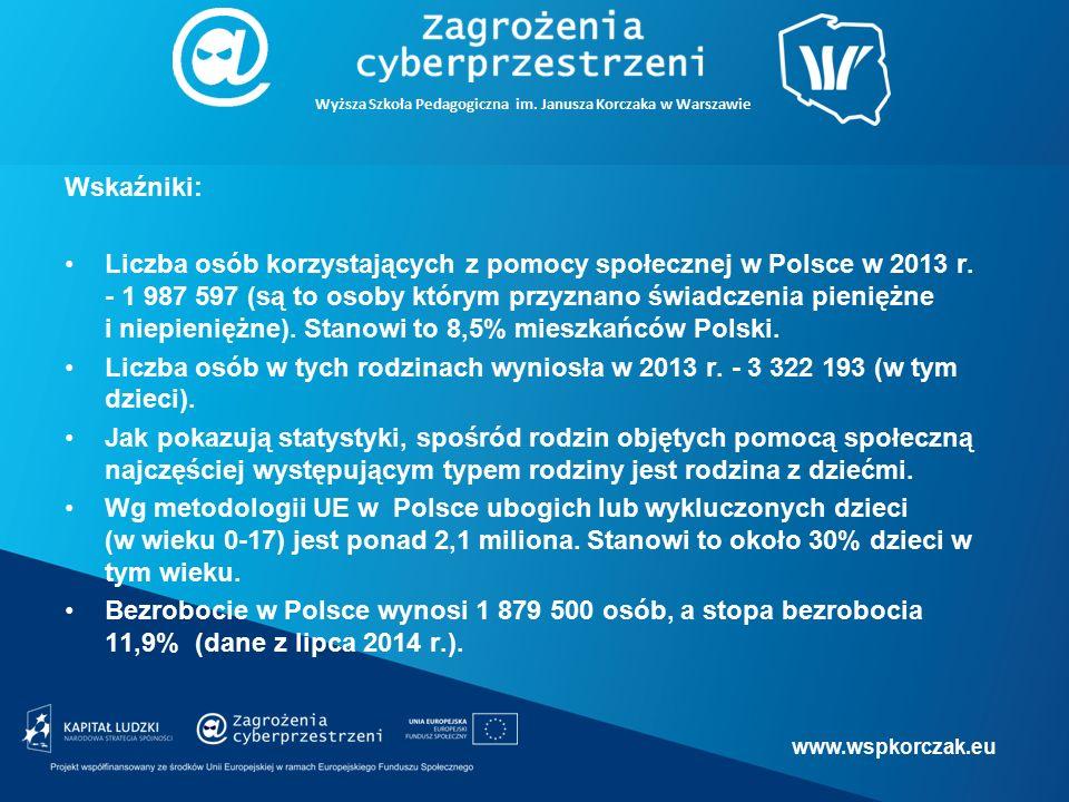 Źródło: Ubóstwo ekonomiczne w Polsce w 2013 r., Główny Urząd Statystyczny, www.stat.gov.pl.