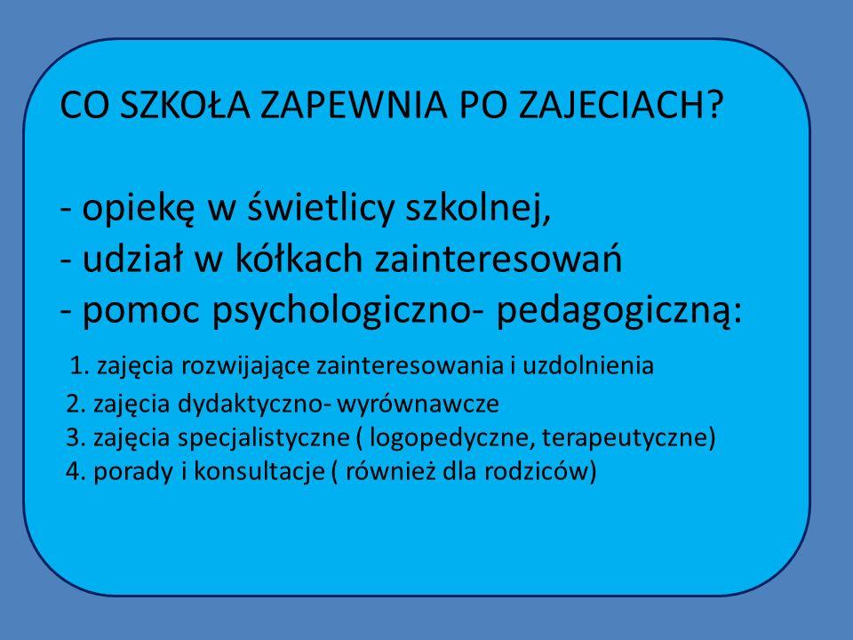 CO SZKOŁA ZAPEWNIA PO ZAJECIACH? - opiekę w świetlicy szkolnej, - udział w kółkach zainteresowań - pomoc psychologiczno- pedagogiczną: 1. zajęcia rozw