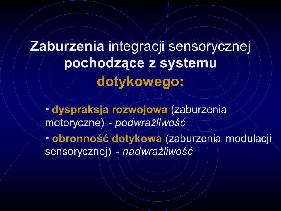 Zaburzenia integracji sensorycznej pochodzące z systemu dotykowego : dyspraksja rozwojowa (zaburzenia motoryczne) - podwrażliwość obronność dotykowa (zaburzenia modulacji sensorycznej) - nadwrażliwość