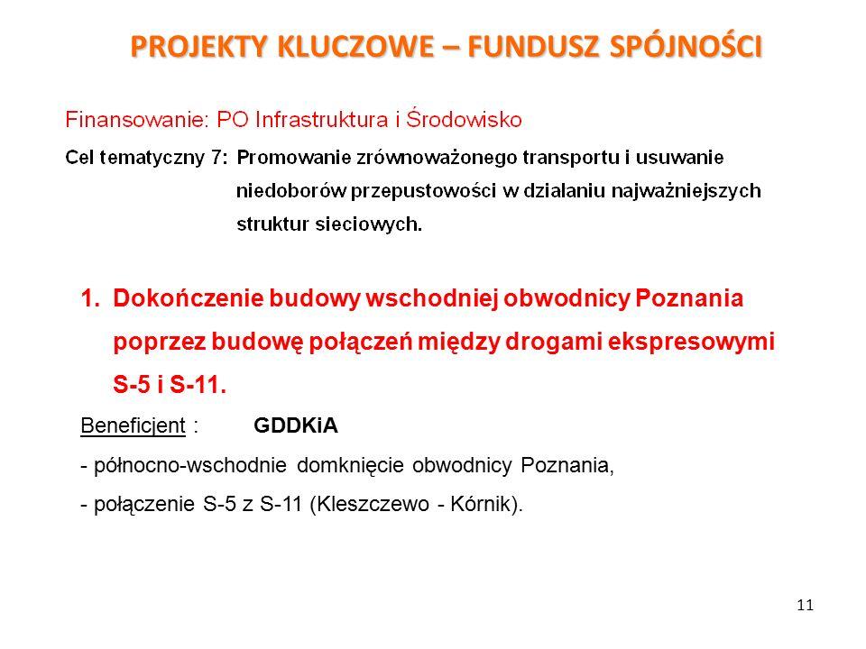 PROJEKTY KLUCZOWE – FUNDUSZ SPÓJNOŚCI 11 1.Dokończenie budowy wschodniej obwodnicy Poznania poprzez budowę połączeń między drogami ekspresowymi S-5 i S-11.