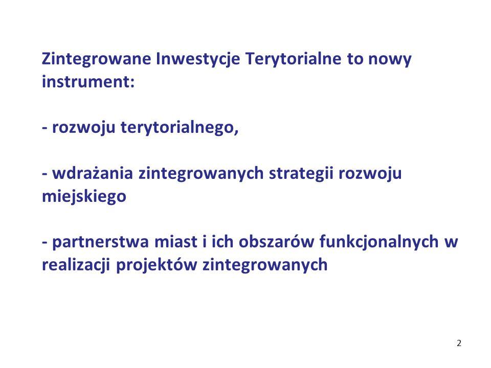 2 Zintegrowane Inwestycje Terytorialne to nowy instrument: - rozwoju terytorialnego, - wdrażania zintegrowanych strategii rozwoju miejskiego - partnerstwa miast i ich obszarów funkcjonalnych w realizacji projektów zintegrowanych