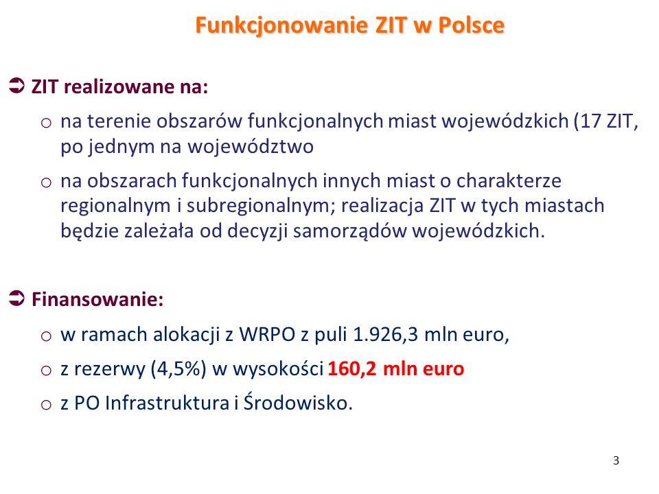 3 Funkcjonowanie ZIT w Polsce  ZIT realizowane na: o na terenie obszarów funkcjonalnych miast wojewódzkich (17 ZIT, po jednym na województwo o na obszarach funkcjonalnych innych miast o charakterze regionalnym i subregionalnym; realizacja ZIT w tych miastach będzie zależała od decyzji samorządów wojewódzkich.