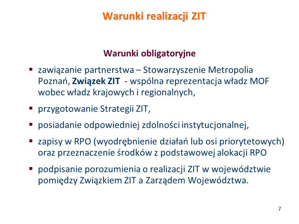 Warunki realizacji ZIT Warunki obligatoryjne  zawiązanie partnerstwa – Stowarzyszenie Metropolia Poznań, Związek ZIT - wspólna reprezentacja władz MOF wobec władz krajowych i regionalnych,  przygotowanie Strategii ZIT,  posiadanie odpowiedniej zdolności instytucjonalnej,  zapisy w RPO (wyodrębnienie działań lub osi priorytetowych) oraz przeznaczenie środków z podstawowej alokacji RPO  podpisanie porozumienia o realizacji ZIT w województwie pomiędzy Związkiem ZIT a Zarządem Województwa.