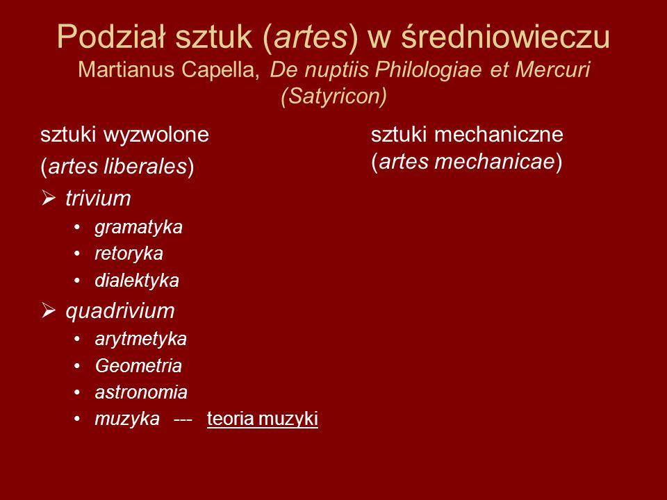 Podział sztuk (artes) w średniowieczu Martianus Capella, De nuptiis Philologiae et Mercuri (Satyricon) sztuki wyzwolone (artes liberales)  trivium gr