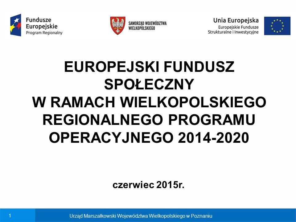 2 Urząd Marszałkowski Województwa Wielkopolskiego w Poznaniu EFS: Oś 6 Rynek pracy Oś 7 Włączenie społeczne Oś 8 Edukacja