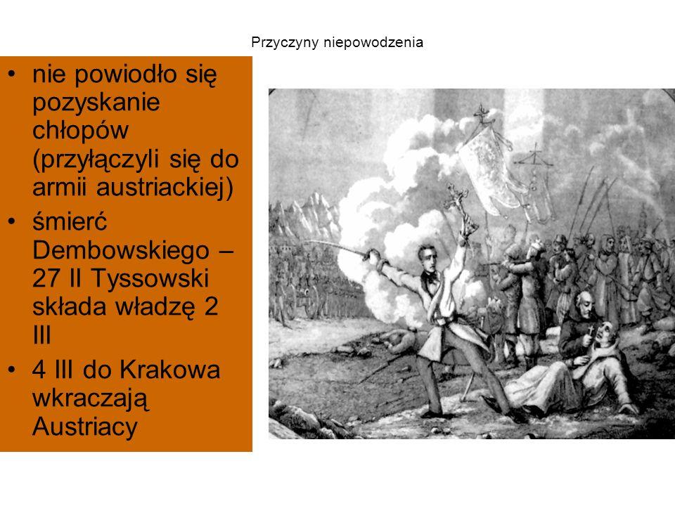Przyczyny niepowodzenia nie powiodło się pozyskanie chłopów (przyłączyli się do armii austriackiej) śmierć Dembowskiego – 27 II Tyssowski składa władzę 2 III 4 III do Krakowa wkraczają Austriacy
