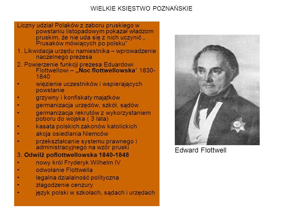 """WIELKIE KSIĘSTWO POZNAŃSKIE Liczny udział Polaków z zaboru pruskiego w powstaniu listopadowym pokazał władzom pruskim, że nie uda się z nich uczynić """" Prusaków mówiących po polsku 1."""