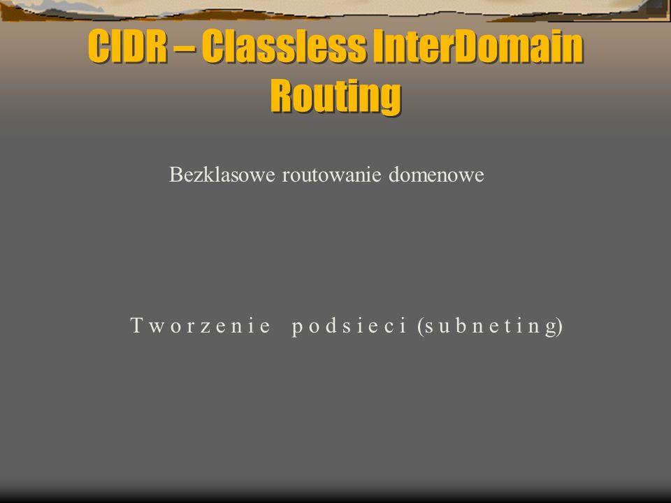 CIDR – Classless InterDomain Routing Bezklasowe routowanie domenowe T w o r z e n i e p o d s i e c i (s u b n e t i n g)