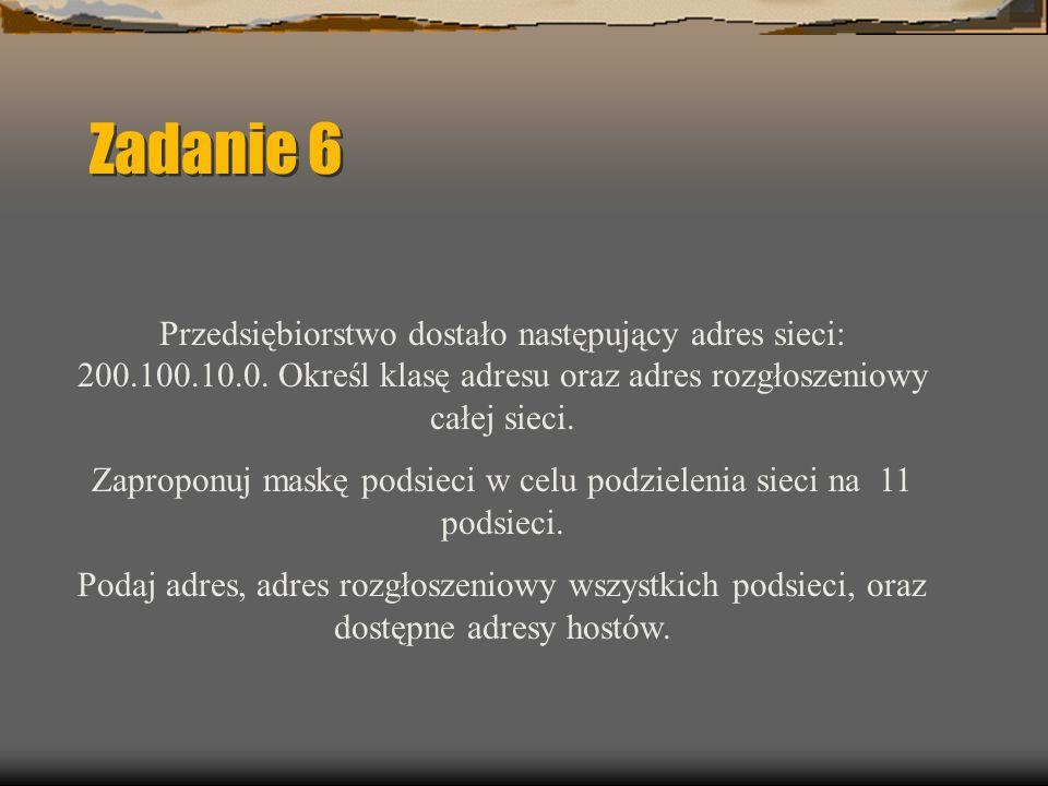Zadanie 6 Przedsiębiorstwo dostało następujący adres sieci: 200.100.10.0.