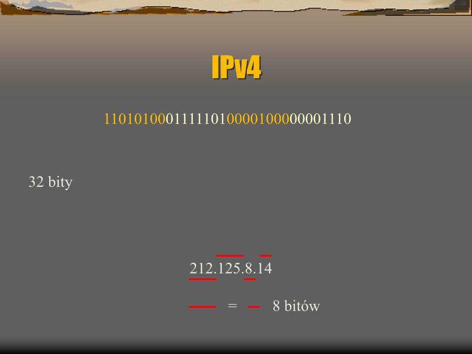 IPv4 32 bity 212.125.8.14 11010100011111010000100000001110 = 8 bitów