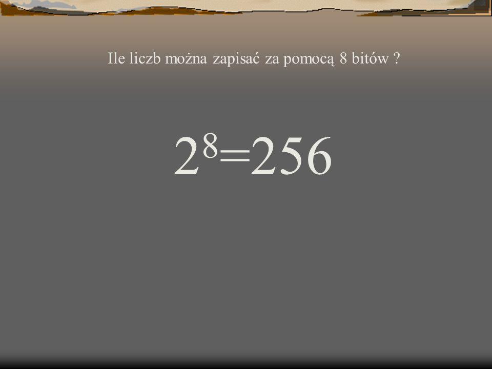 2 8 =256 Ile liczb można zapisać za pomocą 8 bitów ?