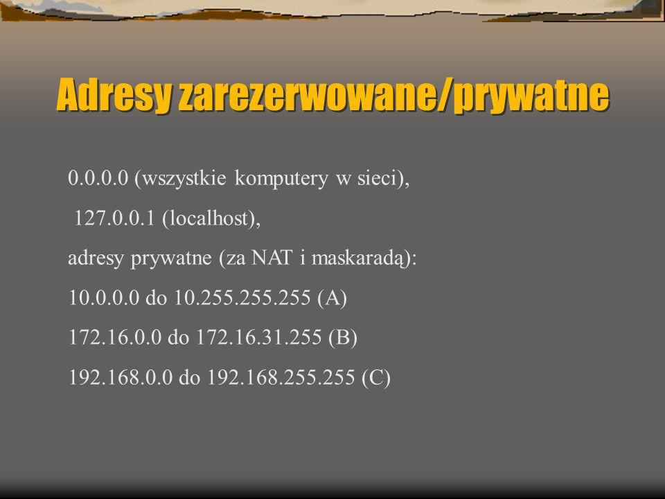 Adresy zarezerwowane/prywatne 0.0.0.0 (wszystkie komputery w sieci), 127.0.0.1 (localhost), adresy prywatne (za NAT i maskaradą): 10.0.0.0 do 10.255.255.255 (A) 172.16.0.0 do 172.16.31.255 (B) 192.168.0.0 do 192.168.255.255 (C)