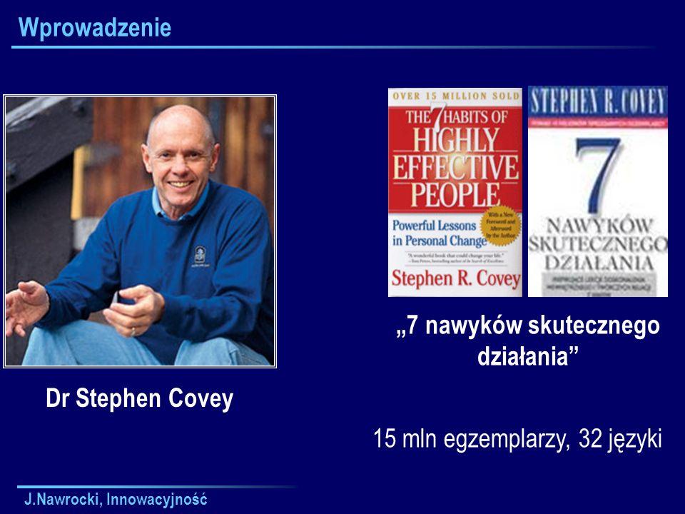"""J.Nawrocki, Innowacyjność Wprowadzenie Dr Stephen Covey """"7 nawyków skutecznego działania 15 mln egzemplarzy, 32 języki"""