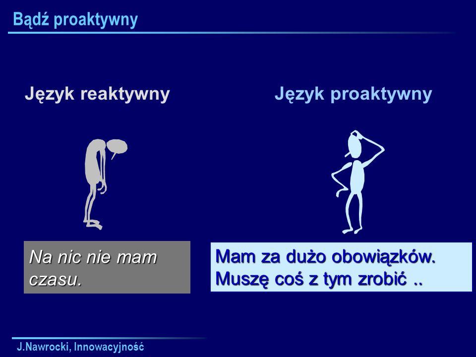 J.Nawrocki, Innowacyjność Bądź proaktywny Język reaktywnyJęzyk proaktywny Mam za dużo obowiązków.