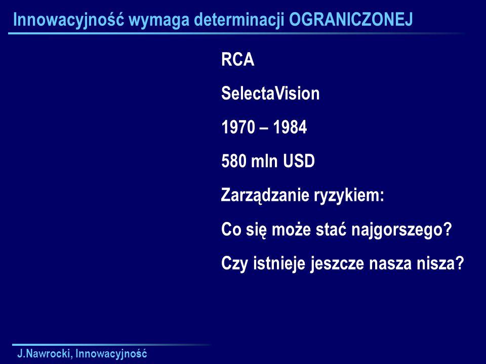 J.Nawrocki, Innowacyjność Innowacyjność wymaga determinacji OGRANICZONEJ RCA SelectaVision 1970 – 1984 580 mln USD Zarządzanie ryzykiem: Co się może stać najgorszego.