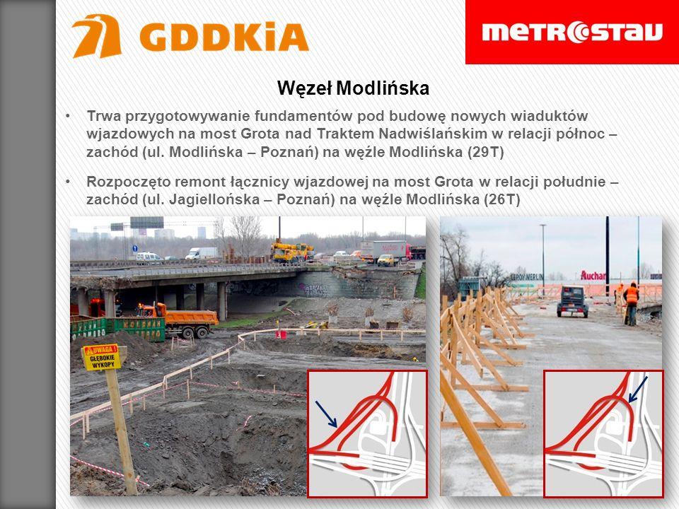 Trwa przygotowywanie fundamentów pod budowę nowych wiaduktów wjazdowych na most Grota nad Traktem Nadwiślańskim w relacji północ – zachód (ul. Modlińs