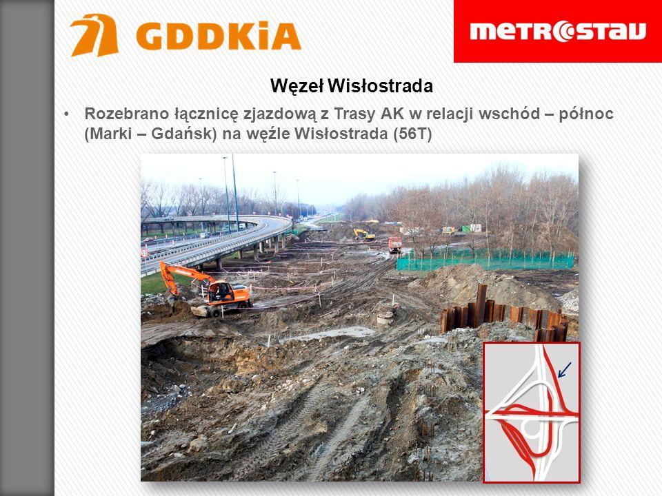 Węzeł Wisłostrada Rozebrano łącznicę zjazdową z Trasy AK w relacji wschód – północ (Marki – Gdańsk) na węźle Wisłostrada (56T)