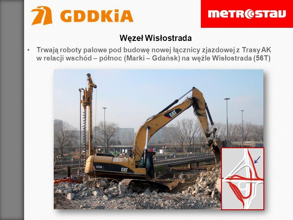 Trwają roboty palowe pod budowę nowej łącznicy zjazdowej z Trasy AK w relacji wschód – północ (Marki – Gdańsk) na węźle Wisłostrada (56T) Węzeł Wisłos