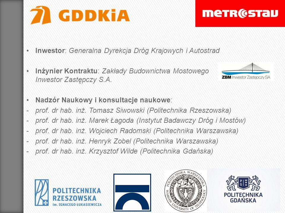 Inwestor: Generalna Dyrekcja Dróg Krajowych i Autostrad Inżynier Kontraktu: Zakłady Budownictwa Mostowego Inwestor Zastępczy S.A. Nadzór Naukowy i kon