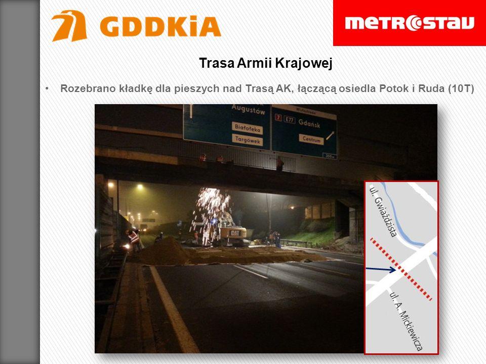 Rozebrano kładkę dla pieszych nad Trasą AK, łączącą osiedla Potok i Ruda (10T) Trasa Armii Krajowej