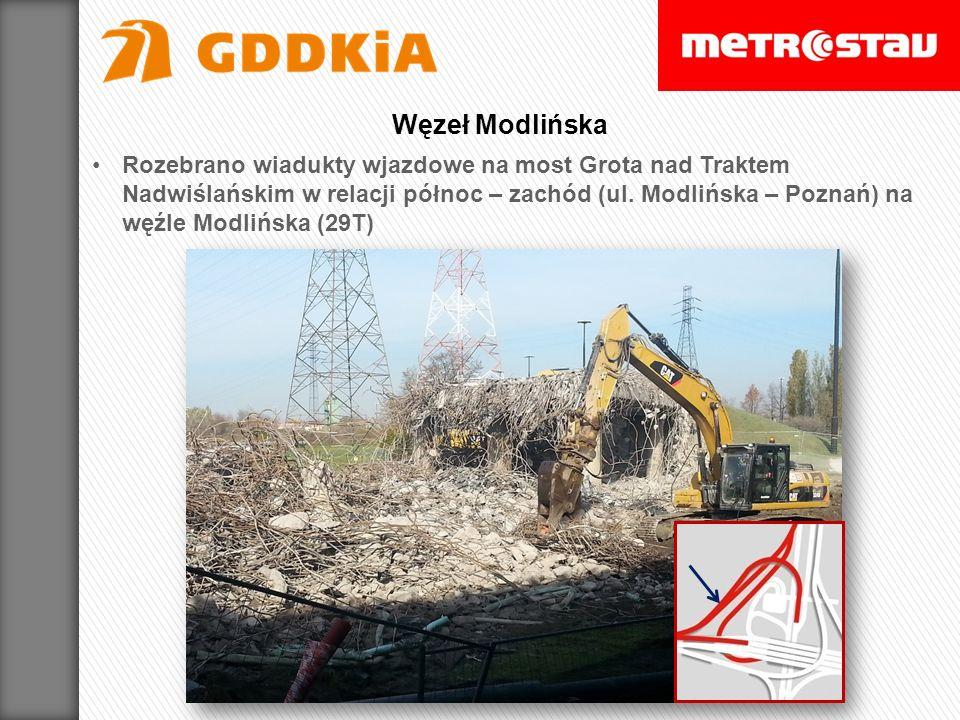 Rozebrano wiadukty wjazdowe na most Grota nad Traktem Nadwiślańskim w relacji północ – zachód (ul. Modlińska – Poznań) na węźle Modlińska (29T) Węzeł