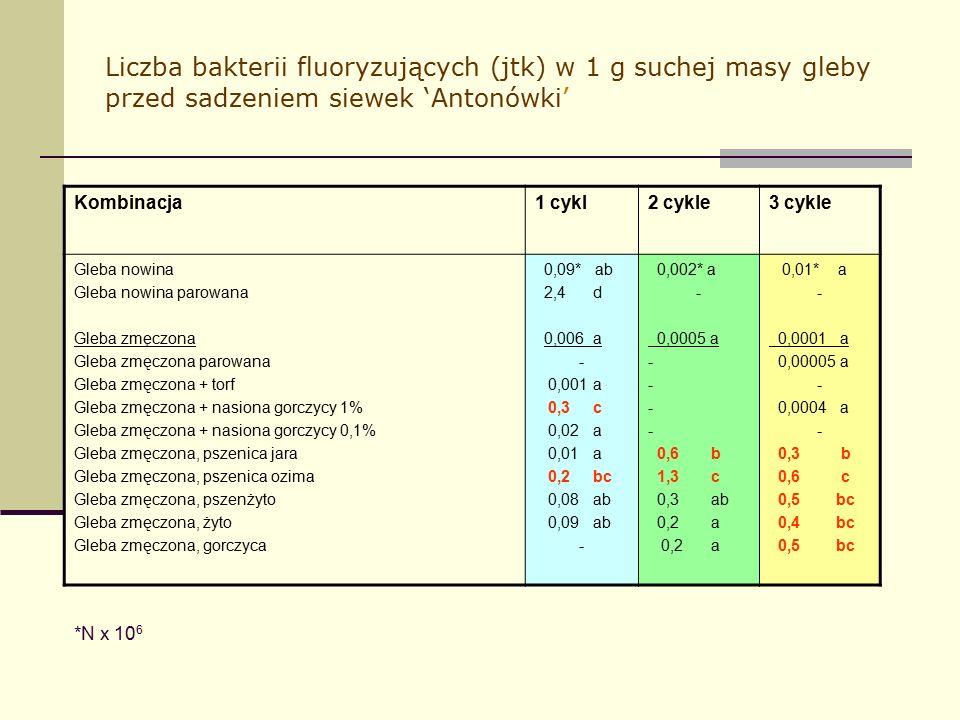 Liczba bakterii fluoryzujących (jtk) w 1 g suchej masy gleby przed sadzeniem siewek 'Antonówki' Kombinacja1 cykl2 cykle3 cykle Gleba nowina Gleba nowina parowana Gleba zmęczona Gleba zmęczona parowana Gleba zmęczona + torf Gleba zmęczona + nasiona gorczycy 1% Gleba zmęczona + nasiona gorczycy 0,1% Gleba zmęczona, pszenica jara Gleba zmęczona, pszenica ozima Gleba zmęczona, pszenżyto Gleba zmęczona, żyto Gleba zmęczona, gorczyca 0,09* ab 2,4 d 0,006 a - 0,001 a 0,3 c 0,02 a 0,01 a 0,2 bc 0,08 ab 0,09 ab - 0,002* a - 0,0005 a - 0,6 b 1,3 c 0,3 ab 0,2 a 0,01* a - 0,0001 a 0,00005 a - 0,0004 a - 0,3 b 0,6 c 0,5 bc 0,4 bc 0,5 bc *N x 10 6