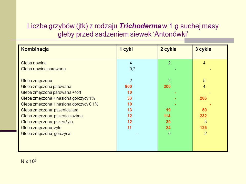 Liczba grzybów (jtk) z rodzaju Trichoderma w 1 g suchej masy gleby przed sadzeniem siewek 'Antonówki' Kombinacja1 cykl2 cykle3 cykle Gleba nowina Gleba nowina parowana Gleba zmęczona Gleba zmęczona parowana Gleba zmęczona parowana + torf Gleba zmęczona + nasiona gorczycy 1% Gleba zmęczona + nasiona gorczycy 0,1% Gleba zmęczona, pszenica jara Gleba zmęczona, pszenica ozima Gleba zmęczona, pszenżyto Gleba zmęczona, żyto Gleba zmęczona, gorczyca 4 0,7 2 900 10 33 10 13 12 11 - 2 - 2 200 - 19 114 39 24 0 4 - 5 4 - 266 - 50 232 5 125 2 N x 10 3