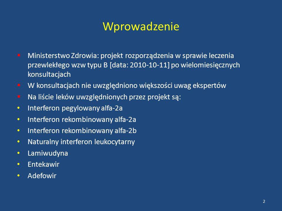 Wprowadzenie  Ministerstwo Zdrowia: projekt rozporządzenia w sprawie leczenia przewlekłego wzw typu B [data: 2010-10-11] po wielomiesięcznych konsultacjach  W konsultacjach nie uwzględniono większości uwag ekspertów  Na liście leków uwzględnionych przez projekt są: Interferon pegylowany alfa-2a Interferon rekombinowany alfa-2a Interferon rekombinowany alfa-2b Naturalny interferon leukocytarny Lamiwudyna Entekawir Adefowir 2