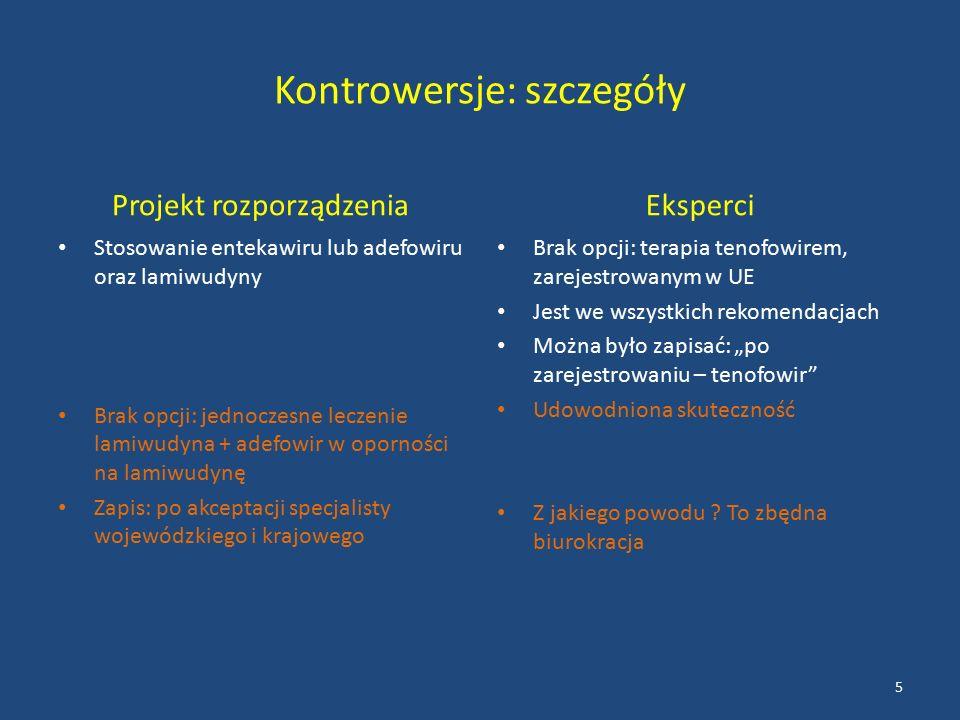 """Kontrowersje: szczegóły Projekt rozporządzenia Stosowanie entekawiru lub adefowiru oraz lamiwudyny Brak opcji: jednoczesne leczenie lamiwudyna + adefowir w oporności na lamiwudynę Zapis: po akceptacji specjalisty wojewódzkiego i krajowego Eksperci Brak opcji: terapia tenofowirem, zarejestrowanym w UE Jest we wszystkich rekomendacjach Można było zapisać: """"po zarejestrowaniu – tenofowir Udowodniona skuteczność Z jakiego powodu ."""
