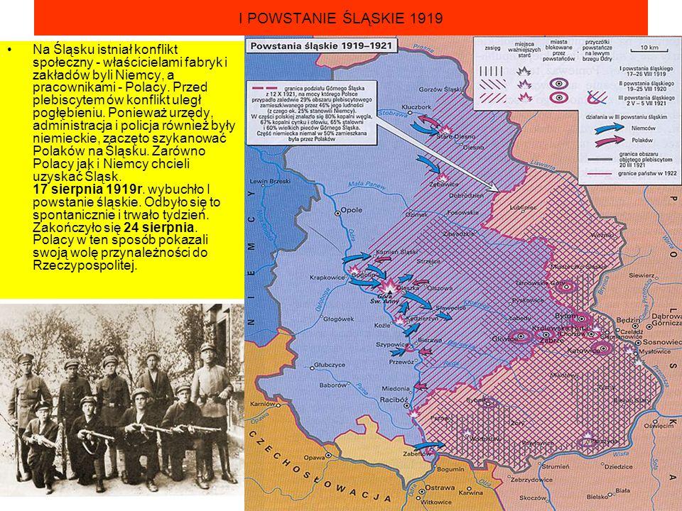 I POWSTANIE ŚLĄSKIE 1919 Na Śląsku istniał konflikt społeczny - właścicielami fabryk i zakładów byli Niemcy, a pracownikami - Polacy. Przed plebiscyte