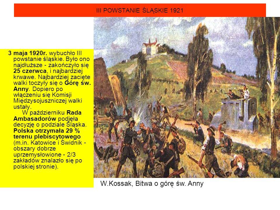 III POWSTANIE ŚLĄSKIE 1921 3 maja 1920r. wybuchło III powstanie śląskie. Było ono najdłuższe - zakończyło się 25 czerwca, i najbardziej krwawe. Najbar