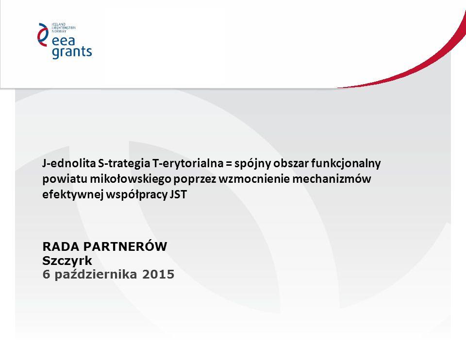 J-ednolita S-trategia T-erytorialna = spójny obszar funkcjonalny powiatu mikołowskiego poprzez wzmocnienie mechanizmów efektywnej współpracy JST RADA PARTNERÓW Szczyrk 6 października 2015