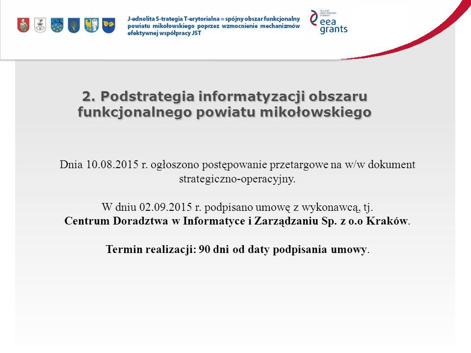 2. Podstrategia informatyzacji obszaru funkcjonalnego powiatu mikołowskiego Dnia 10.08.2015 r.