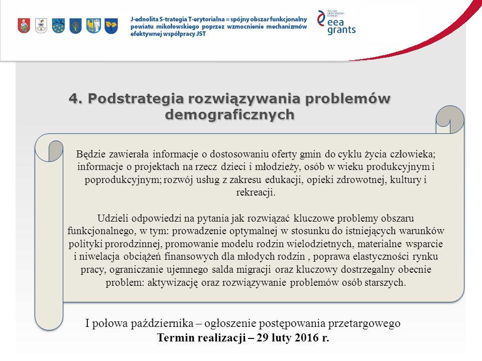 4. Podstrategia rozwiązywania problemów demograficznych Będzie zawierała informacje o dostosowaniu oferty gmin do cyklu życia człowieka; informacje o