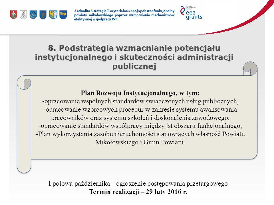 8. Podstrategia wzmacnianie potencjału instytucjonalnego i skuteczności administracji publicznej Plan Rozwoju Instytucjonalnego, w tym: -opracowanie w