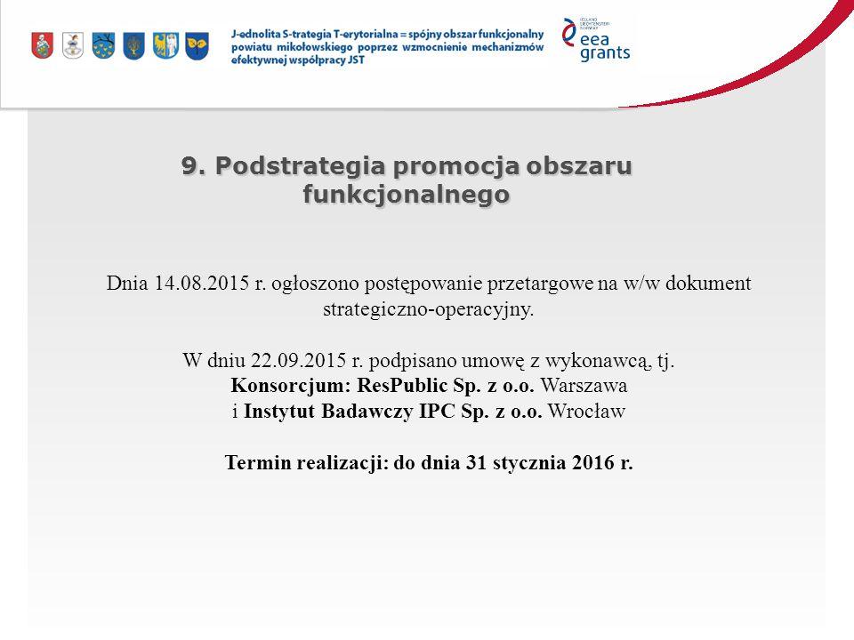 9. Podstrategia promocja obszaru funkcjonalnego Dnia 14.08.2015 r.