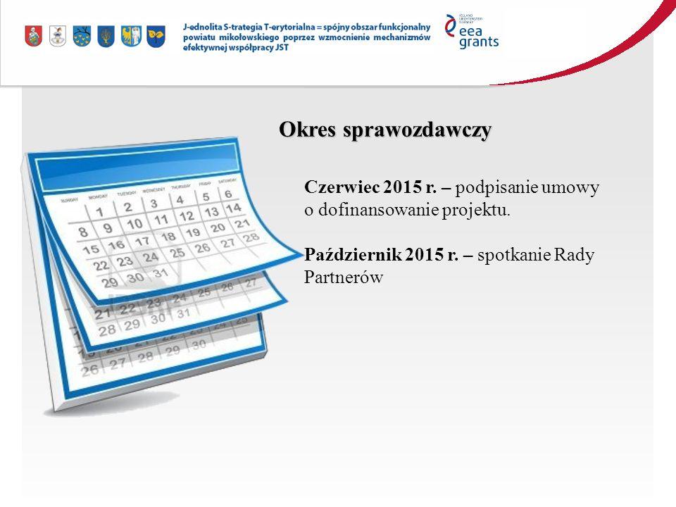 Czerwiec 2015 r. – podpisanie umowy o dofinansowanie projektu.