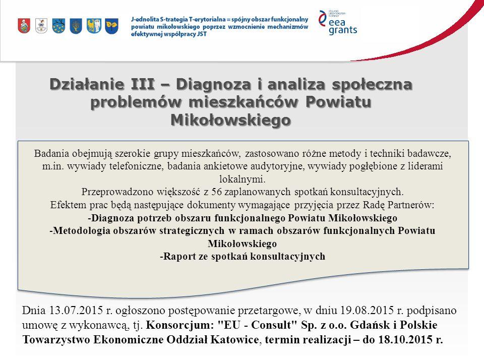 Działanie III – Diagnoza i analiza społeczna problemów mieszkańców Powiatu Mikołowskiego Badania obejmują szerokie grupy mieszkańców, zastosowano różne metody i techniki badawcze, m.in.