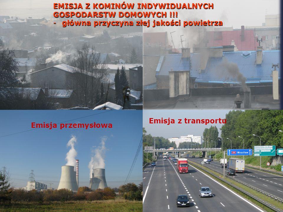 Emisja z transportu Emisja przemysłowa EMISJA Z KOMINÓW INDYWIDUALNYCH GOSPODARSTW DOMOWYCH !!.
